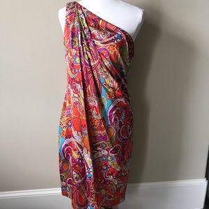 Lauren Ralph Lauren vibrant one shoulder dress